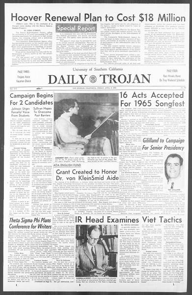 Daily Trojan, Vol. 56, No. 99, April 09, 1965