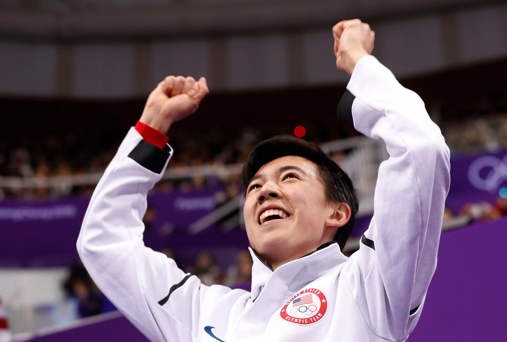. Vincent Zhou of the United States reacts as his score is posted following his performance in the men\'s free figure skating final in the Gangneung Ice Arena at the 2018 Winter Olympics in Gangneung, South Korea, Saturday, Feb. 17, 2018. (AP Photo/Bernat Armangue)