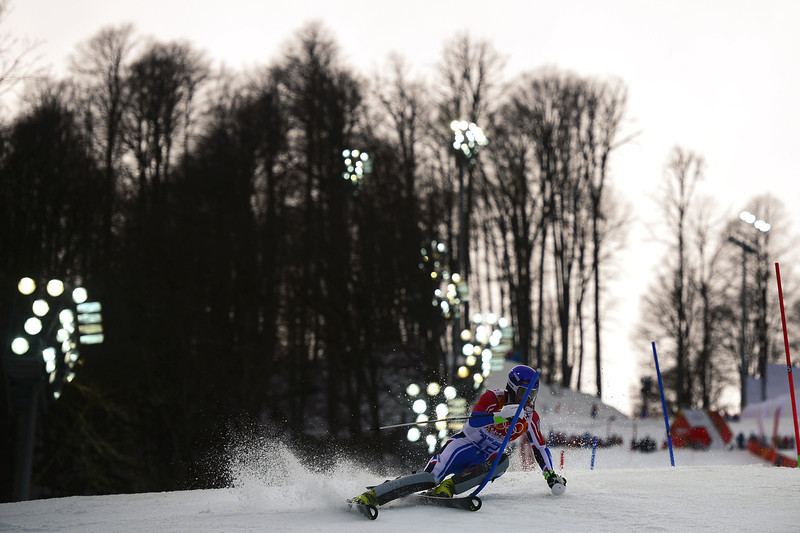 . France\'s Jean-Baptiste Grange competes during the Men\'s Alpine Skiing Slalom Run 1 at the Rosa Khutor Alpine Center during the Sochi Winter Olympics on February 22, 2014. (OLIVIER MORIN/AFP/Getty Images)