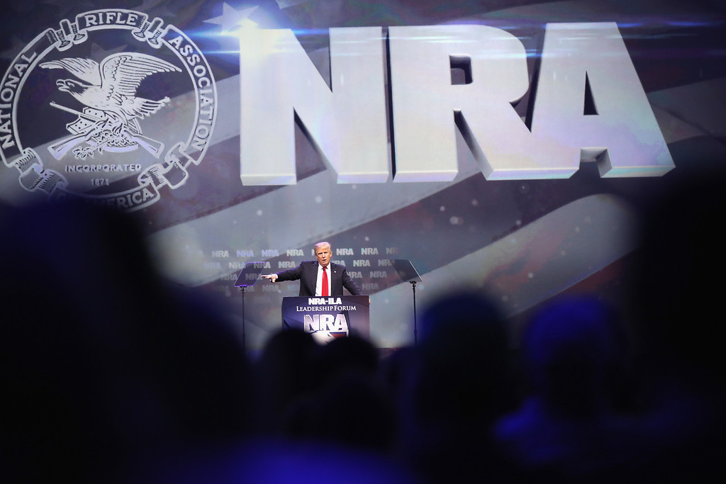 . LOUISVILLE, KY - MAY 20:  Republican presidential candidate Donald Trump speaks at the National Rifle Association\'s NRA-ILA Leadership Forum during the NRA Convention at the Kentucky Exposition Center on May 20, 2016 in Louisville, Kentucky. The NRA endorsed Trump at the convention. The convention runs May 22.  (Photo by Scott Olson/Getty Images)