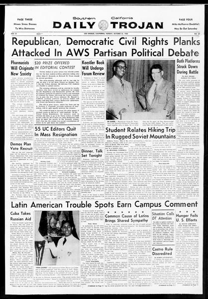 Daily Trojan, Vol. 52, No. 27, October 25, 1960