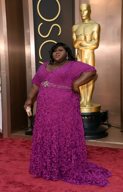 . Actress Gabourey Sidibe attends the Oscars held at Hollywood & Highland Center on March 2, 2014 in Hollywood, California.  (Photo by Jason Merritt/Getty Images)