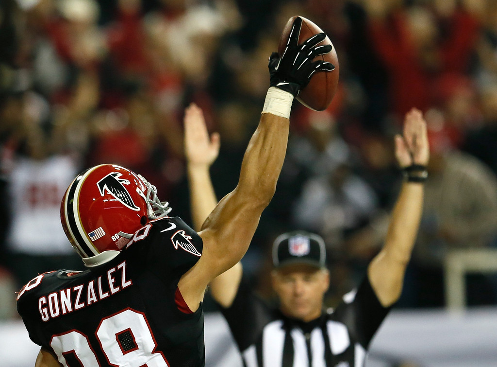 . ATLANTA, GA - NOVEMBER 29:  Tony Gonzalez #88 of the Atlanta Falcons reacts after scoring a touchdown against the New Orleans Saints at Georgia Dome on November 29, 2012 in Atlanta, Georgia.  (Photo by Kevin C. Cox/Getty Images)