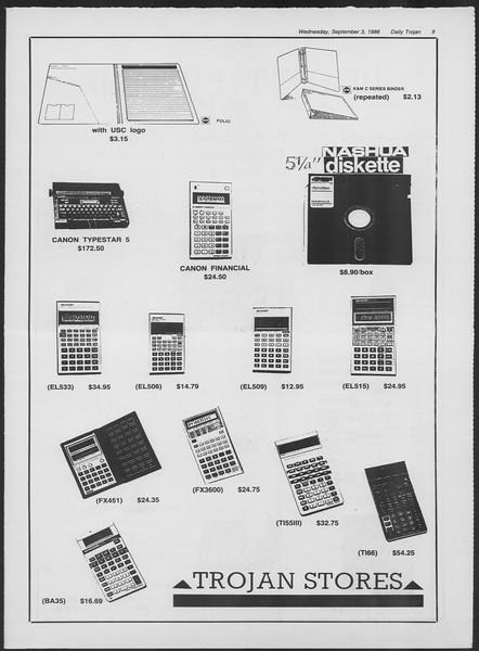 Daily Trojan, Vol. 102, No. 2, September 03, 1986