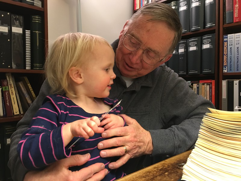 20160304 045 Kate helps Grandpa with stamps.JPG