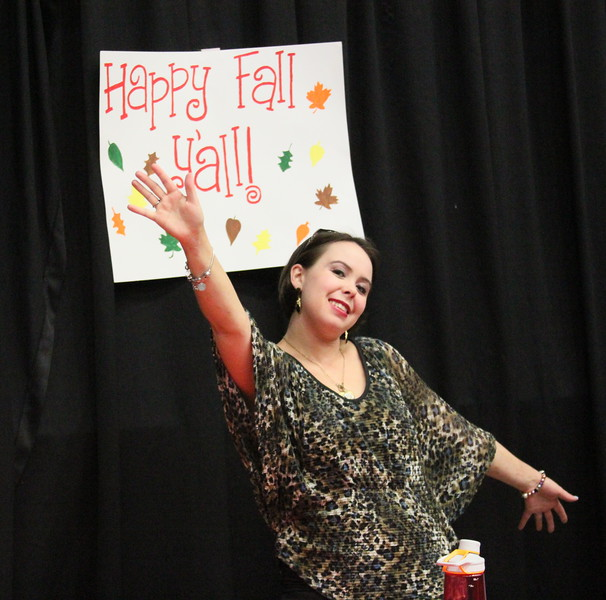 Student Caroline enjoys fall festivities!