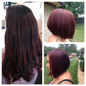 From long to bob with powerful color!   Hair by Christina 317.897.7777
