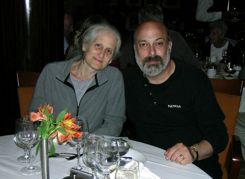 In the dining room--our first dinner on board.