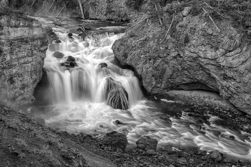 Firehole Falls in B/W