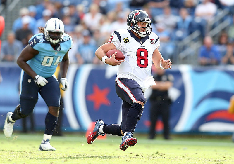 . Matt Schaub #8 of the Houston Texans runs with the ball during the NFL game against the Tennessee Titans at LP Field on December 2, 2012 in Nashville, Tennessee.  (Photo by Andy Lyons/Getty Images)