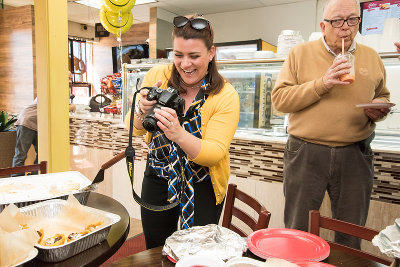 04/16/19  Wesley Bunnell | Staff  Jalao Deli and Restaurant located at 647 Stanley St held a grand re-opening on Tuesday afternoon.  Mayor Erin Stewart takes photos of trays of prepared food at the opening.