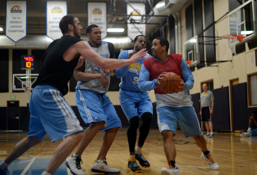 . From left, Kosta Koufos, JaVale McGee, Andre Iguodala, and Andre Miller of Denver Nuggets are in the team practice for the 1st round of playoff game against Golden State Warriors at Pepsi Center. Denver. Denver, Colorado. April 19, 2013. (Photo By Hyoung Chang/The Denver Post)