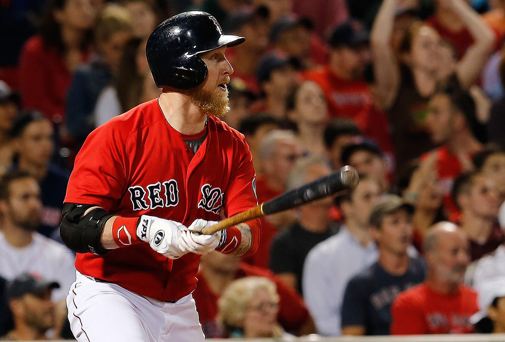 . BOSTON, MA - SEPTEMBER 20: Mike Carp #37 of the Boston Red Sox knocks in two runs  in 7th inning against the Toronto Blue Jays at Fenway Park on September 20, 2013 in Boston, Massachusetts.  (Photo by Jim Rogash/Getty Images)