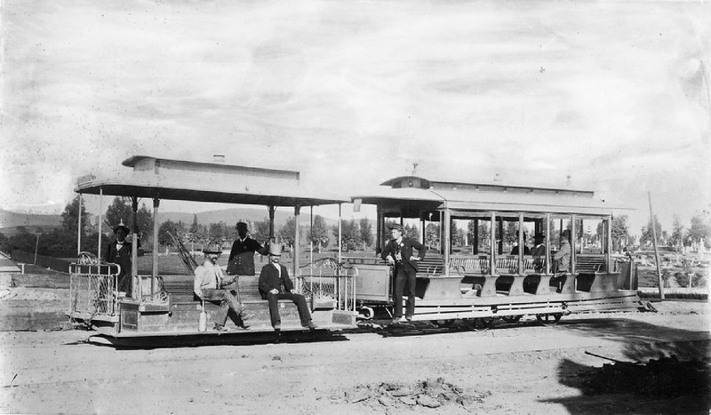 Cable car at end of the Boyle Heights line on First Street and Cemetery, ca.1890