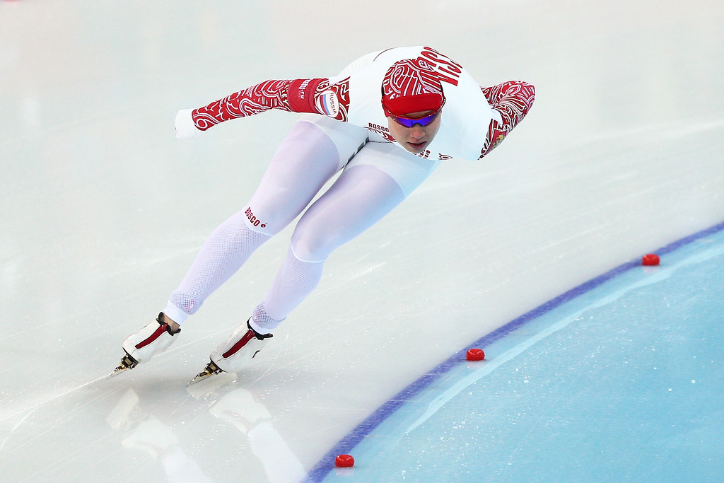 . Olga Fatkulina of Russia competes during the Women\'s 1000m Speed Skating event on day 6 of the Sochi 2014 Winter Olympics at Adler Arena Skating Center on February 13, 2014 in Sochi, Russia.  (Photo by Clive Mason/Getty Images)
