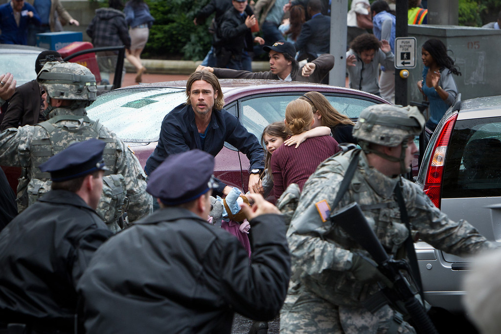 """. In \""""World War Z,\"""" Brad Pitt plays a U.N. worker trying to track the origins of an infection that kills humans then reanimated them as fleet, swarming zombies.Provided by Provided by Paramount Pictures."""
