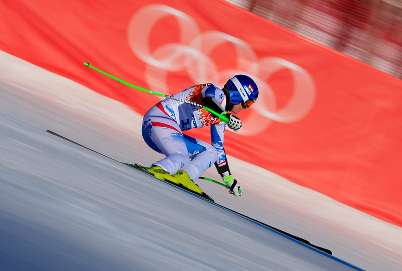. Austria\'s Nicole Hosp competes during the Women\'s Alpine Skiing Super-G at the Rosa Khutor Alpine Center during the Sochi Winter Olympics on February 15, 2014.   (ALEXANDER KLEIN/AFP/Getty Images)