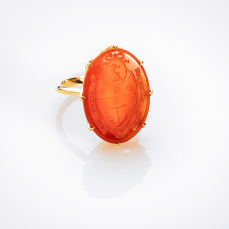 """Recte Velle Sit Satis"" / ""We Aim to do the Right Thing"" (18kt yellow gold  & carnelian seal)"