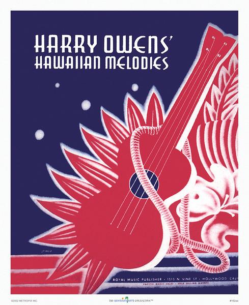 162: 'Harry Owens' Hawaiian Melodies' Hawaiian music cover art, ca. 1938.