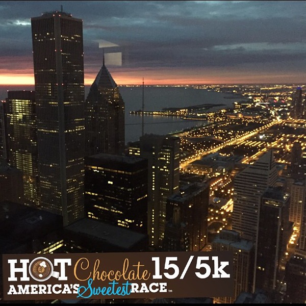 Up early and ready to go. Beautiful sunrise coming soon! #hotchocolate15k