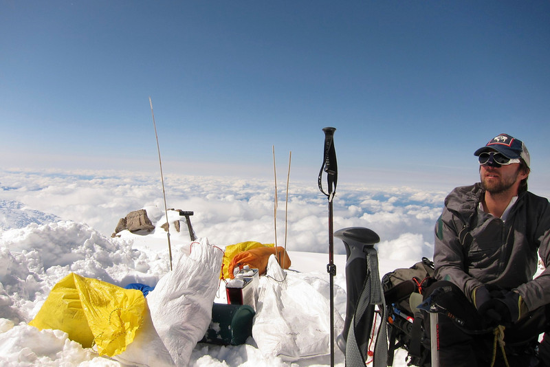 """Doug at MT """"cash-in"""" spot at C4 (17,200ft = 5.243m). I found here overboots for me."""
