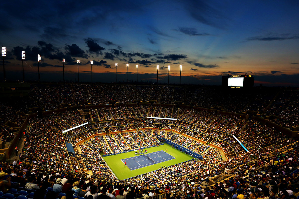 . NEW YORK, NY - AUGUST 27:  A general view of the Arthur Ashe Stadium during the men\'s singles first round match between Novak Djokovic of Serbia and Ricardas Berankis of Lithuania on Day Two of the 2013 US Open at USTA Billie Jean King National Tennis Center on August 27, 2013 in the Flushing neighborhood of the Queens borough of New York City.  (Photo by Al Bello/Getty Images)