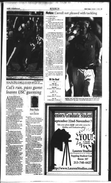 Daily Trojan, Vol. 150, No. 25, October 01, 2003