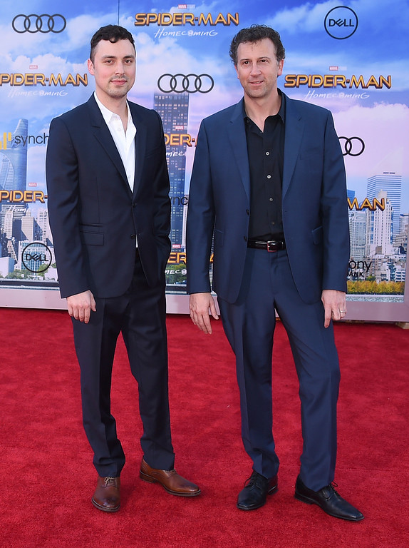 """. John Francis Daley, left, and writer Jonathan Goldstein arrive at the Los Angeles premiere of \""""Spider-Man: Homecoming\"""" at the TCL Chinese Theatre on Wednesday, June 28, 2017. (Photo by Jordan Strauss/Invision/AP)"""
