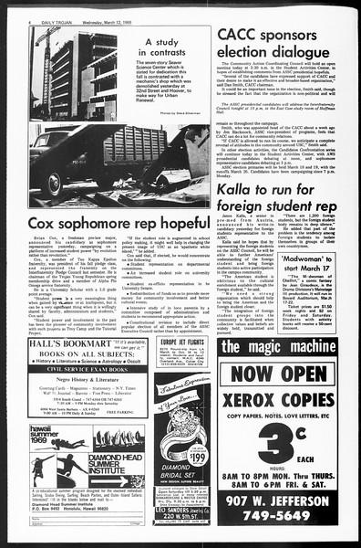Daily Trojan, Vol. 60, No. 88, March 12, 1969