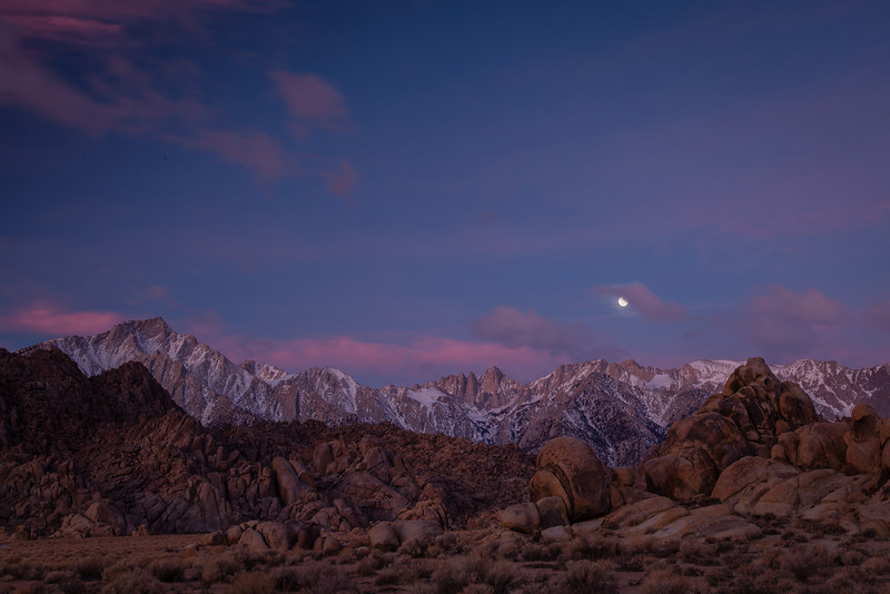 Mt. Whitney, Alabama Hills Moonset. Lone Pine, CA.