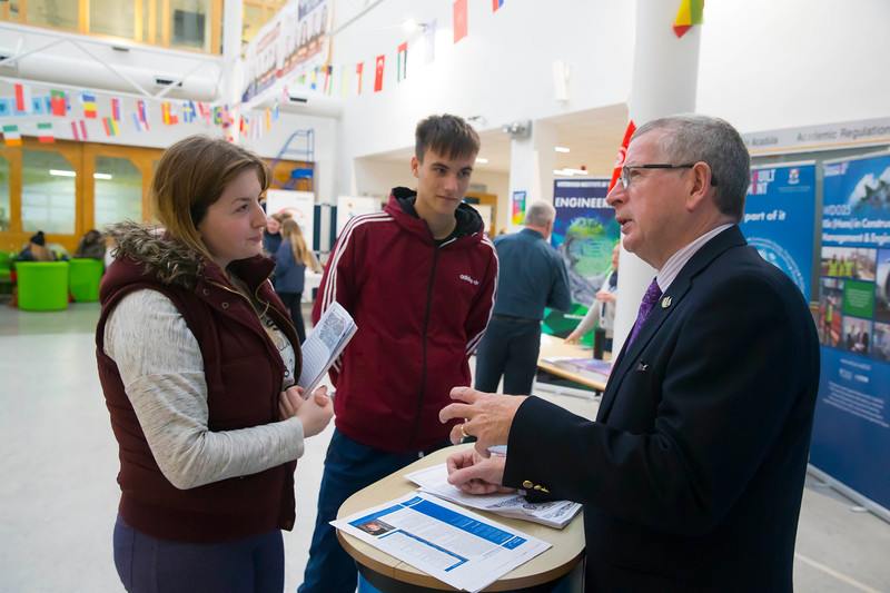 22/11/2017. Waterford Institute of Technology's (WIT) 'College Awareness Day. Pictured are Leah Kelly and Hubert Nowaczyk from Enniscorthy with Ray  Cullen  Head of Dept Languages Tourism Hospitality. Picture: Patrick Browne  Hundreds of secondary school students from across the South East celebrated College Awareness Week by attending Waterford Institute of Technology's (WIT) 'College Awareness Day' on Wednesday 22 November 2017. The events gave secondary school students a taste of college life and helped students of all ages to become 'college ready' by raising awareness of the benefits of going to college. There was an  hourly talk/workshop on how to become college ready (including presentations on college life), an expo area, and a chance to explore the campus. Students attended workshops on sport, electronics, sport and creative as well as presentations on college life at WIT, student supports, new courses for 2018, routes of entry and clubs and societies. They also got an overview of WIT's new common and broad entry courses for 2018.     Elaine Larkin Communications & PR Executive, Waterford Institute of Technology   Phone: +353 51 845577  Mobile: 087-7105148