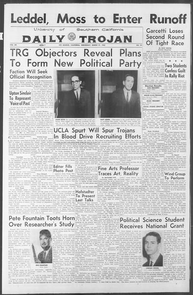 Daily Trojan, Vol. 53, No. 93, March 21, 1962