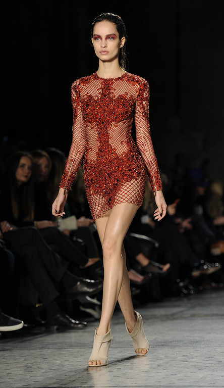 . A model walks the runway at the Julien Macdonald show at London Fashion Week AW14 at Royal Courts of Justice, Strand on February 15, 2014 in London, England. (Photo by Stuart C. Wilson/Getty Images)