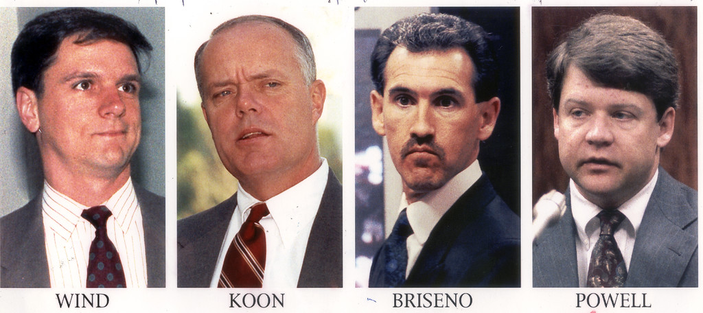 . Timothy Wind, Stacey Koon,Theodore Briseno and Laurence Powell, LAPD officers involved in the beating of black motorist Rodney King. The acquittal of the officers facing state charges in the beating of Rodney King sparked the 1992 Los Angeles riots. (Los Angeles Daily News file photo)