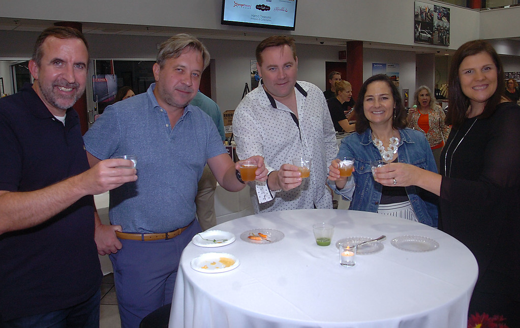 . Enjoying a liquid refreshment at \'A Taste of Ardmore\' are Hubertus Oswald pf Philadelphia, Christian Citron of Bryn Mawr, Brian Cronin of Ardmore , Aimerie Scherluebbe of Wynnewood and Rebecca Cronin of Ardmroe.
