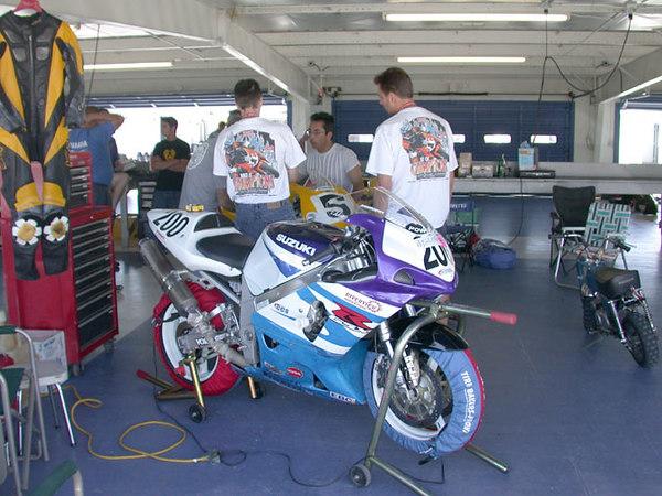 Eddie with his bike in the paddock at Daytona