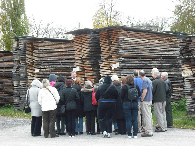Outside the factory where the wood is aged.