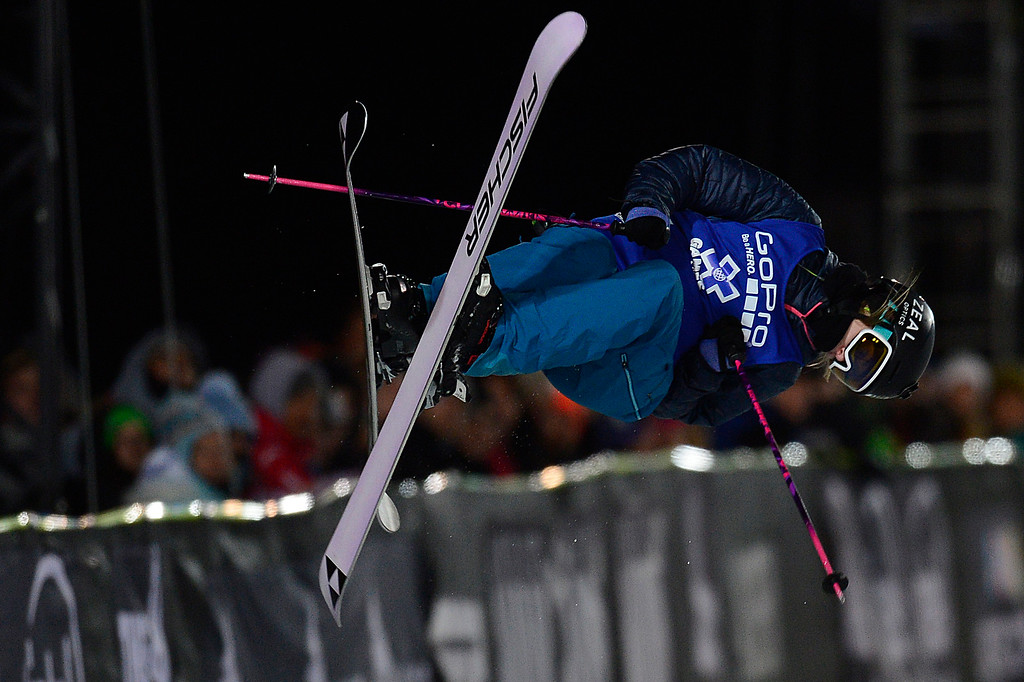 . ASPEN, CO - JANUARY 29: Annalisa Drew rotates in the air in her first run during the finals of women\'s ski half pipe at Winter X Games 2016 at Buttermilk Mountain on January 29, 2016 in Aspen, Colorado. Maddie Bowman won her fourth consecutive gold medal with a score of 85.33. (Photo by Brent Lewis/The Denver Post)