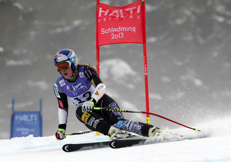 . United States Lindsey Vonn speeds down the course during the women\'s super-G course, at the Alpine skiing world championships in Schladming, Austria, Tuesday, Feb.5, 2013. (AP Photo/Luca Bruno)
