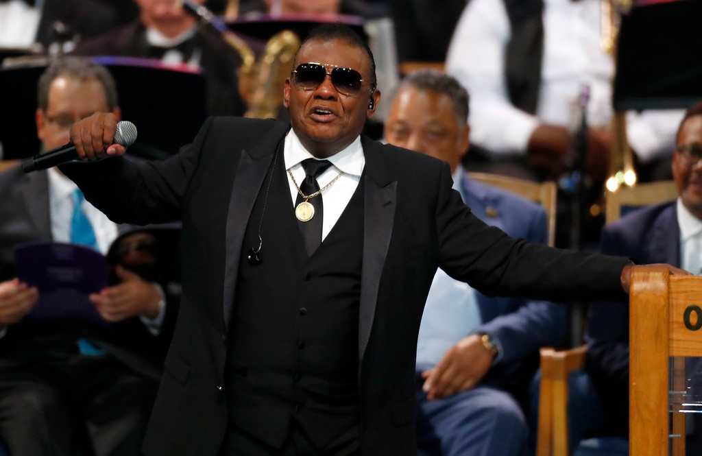. Ron Isley performs during the funeral service for Aretha Franklin at Greater Grace Temple, Friday, Aug. 31, 2018, in Detroit. Franklin died Aug. 16, 2018 of pancreatic cancer at the age of 76. (AP Photo/Paul Sancya)