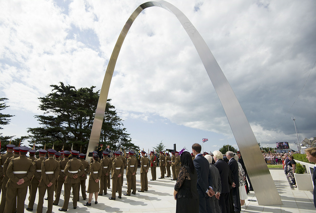 """. FOLKESTONE, ENGLAND - AUGUST 04:  Prince Harry attends the \""""Step Short\"""" commemorative event as he unveils the  Folkestone Memorial Arch, to mark the centenary of the First World War on August 4, 2014 in Folkestone, England. Monday 4th August marks the 100th anniversary of Great Britain declaring war on Germany. In 1914 British Prime Minister Herbert Asquith announced at 11pm that Britain was to enter the war after Germany had violated Belgium neutrality. The First World War or the Great War lasted until 11 November 1918 and is recognised as one of the deadliest historical conflicts with millions of causalities. A series of events commemorating the 100th anniversary are taking place throughout the day. (Photo by Eddie Mulholland - WPA Pool /Getty Images)"""