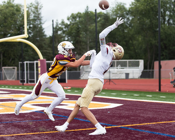09/21/18 Wesley Bunnell | Staff New Britain football at South Windsor High School on Friday afternoon. Maurice Turner (7) is unable to come with with the pass.