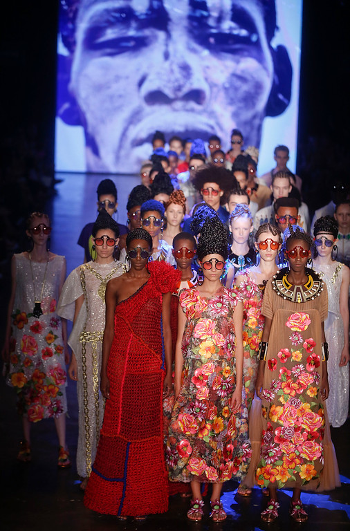 . Models wear creations from the Ronaldo Fraga collection during the Sao Paulo Fashion Week in Sao Paulo, Brazil, Monday, April 25, 2016. (AP Photo/Andre Penner)