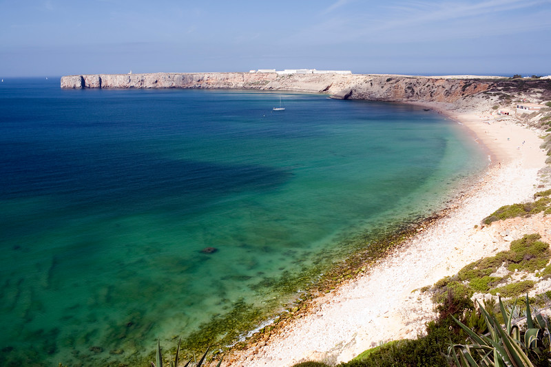 Mareta beach and bay, with Sagres point on the background. Town of Sagres, municipality of Vila do Bispo, district of Faro, region of Algarve, southwestern Portugal