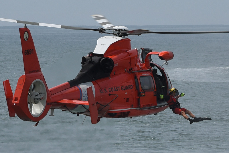USCG performed a modern day water rescue after the buoy demonstration!