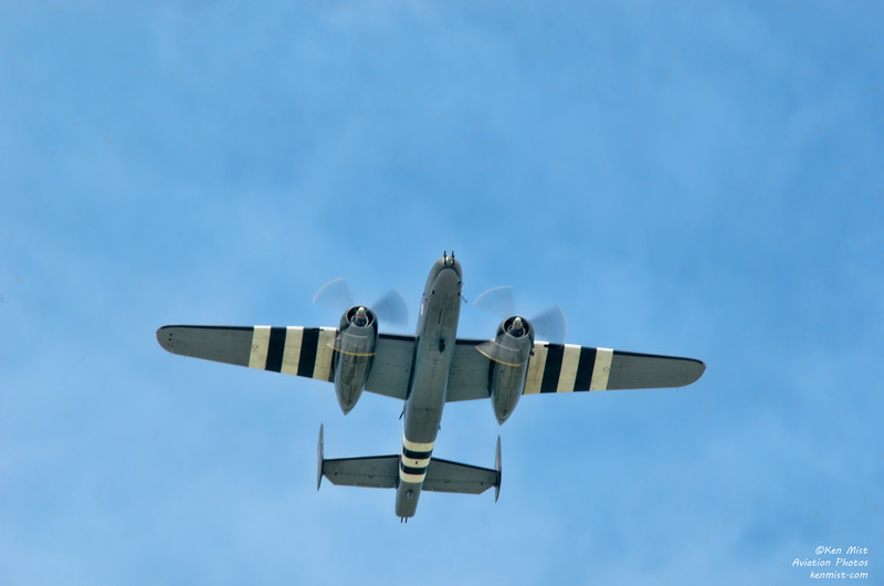 Canadian Warplane Heritage Museum B-25 Mitchell overhead at 2015 SkyFest