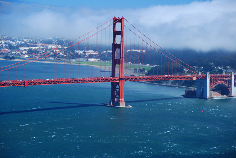 A view of the Golden Gate Bridge from the scenic overlook on the North end of the bridge.