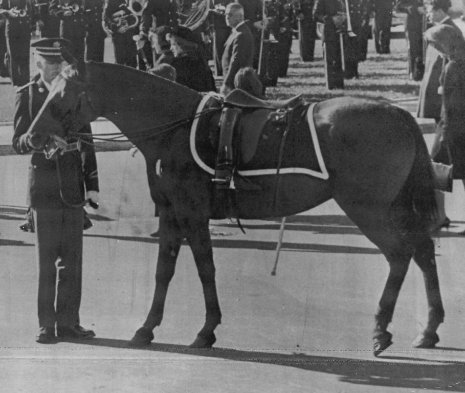 . A black riderless horse with inverted cavalry boots in its stirrups, the military symbol of a fallen leader, is held by a serviceman in the Capitol plaza before the start of the funeral procession through Washington. The horse accompanied the caisson carrying the presidential casket on its last journey.