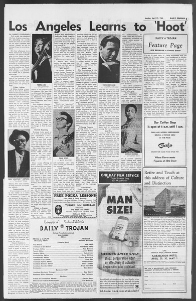 Daily Trojan, Vol. 54, No. 107, April 29, 1963