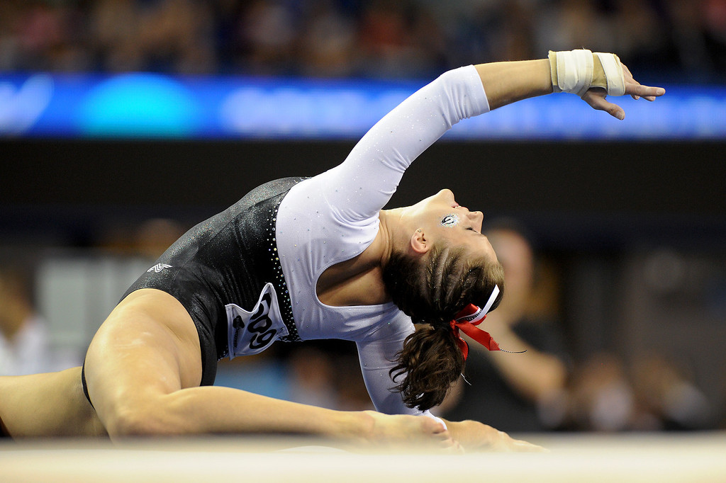 . Georgia\'s Brandie Jay performs in the floor exercise at the NCAA Women\'s Gymnastics Championship Team Finals at Pauley Pavilion, Saturday, April 20, 2013. (Michael Owen Baker/Staff Photographer)